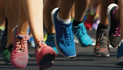Tennis shoes of people running. Easy BD Solution