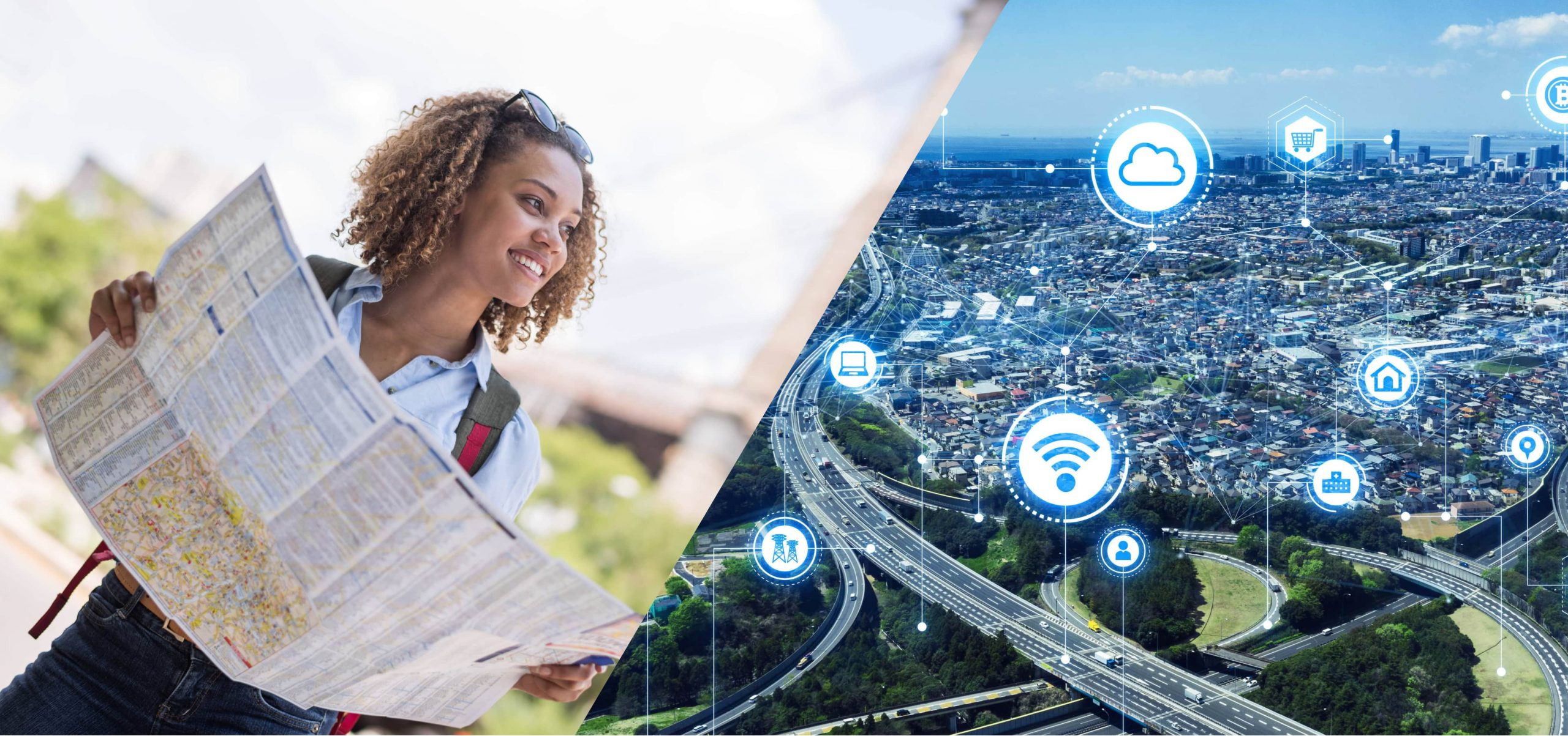 A woman holding a map and looking at a view overlooking a city landscape.thinking Business Development and Customer Experience.