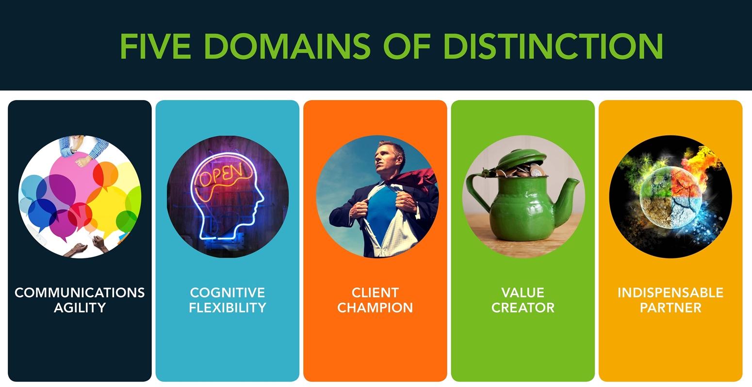 The five domains of distinction-communication agility, cognitive flexibility, client champion, value creator, and indispensable partner.