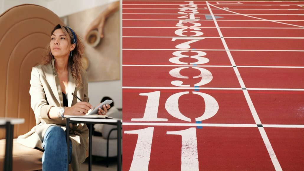 Woman sitting and thinking on how coaching will help her cross the finish line to greater success.