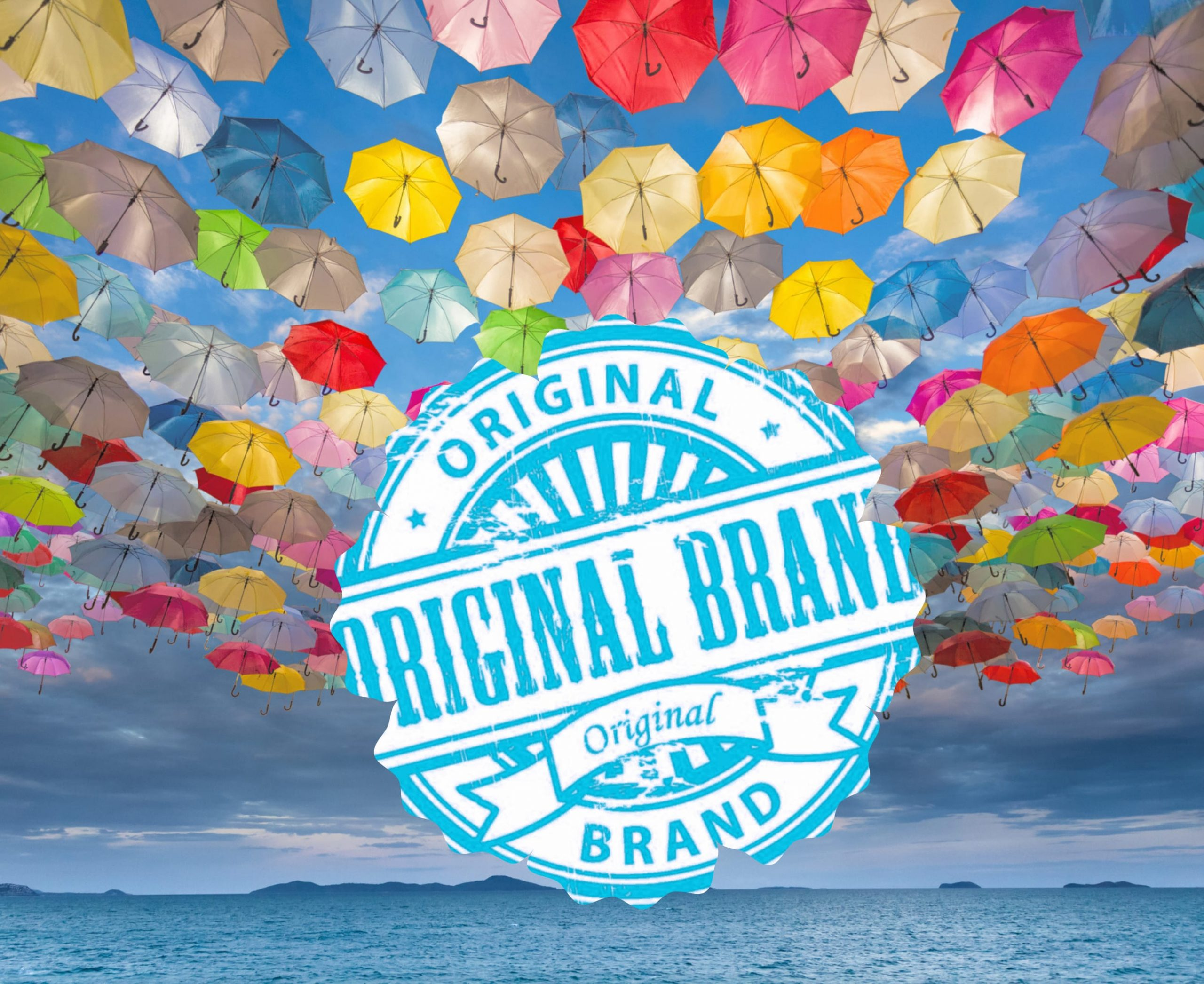 Original Brand icon in a sky of colored umbrellas representing the uniqueness of brands.