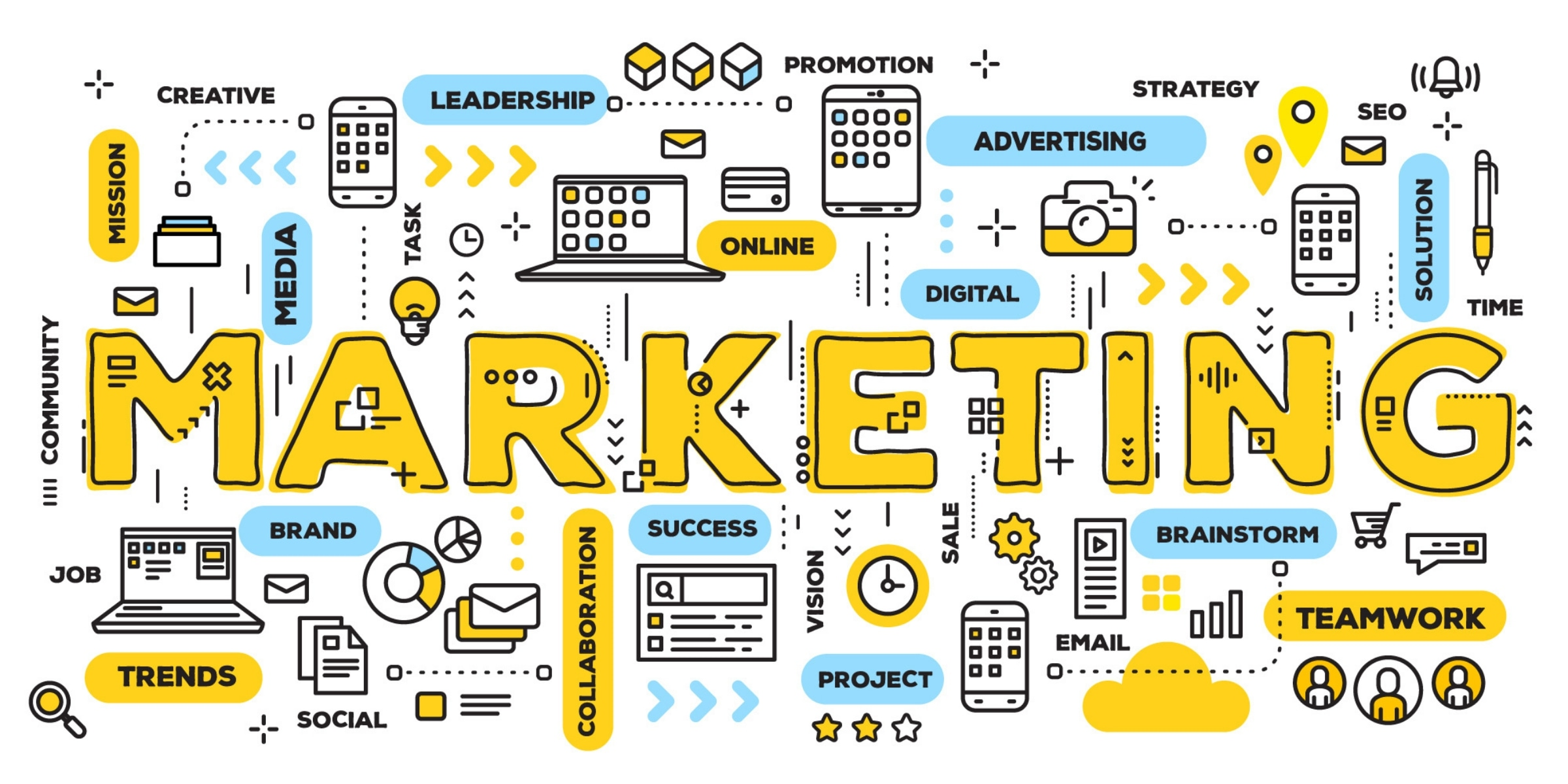 Multiple icons of marketing items such as: advertising, digital, trends, media...etc.